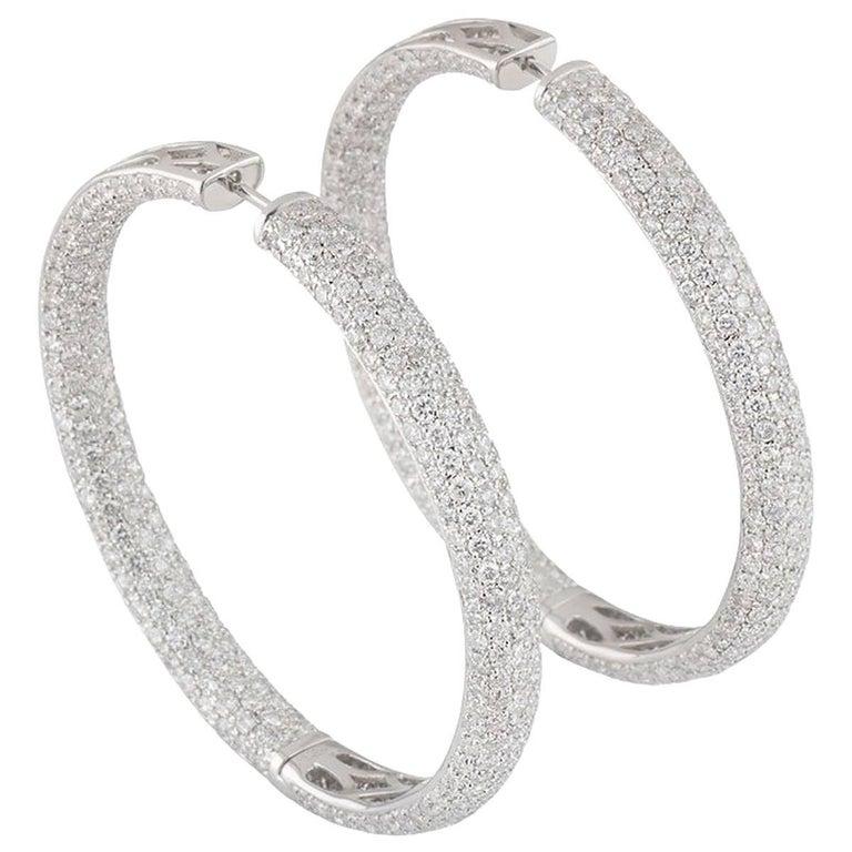 05e3eaa76d66a White Gold Diamond Hoop Earrings 13.64 carats