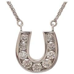 White Gold Diamond Horseshoe Pendant