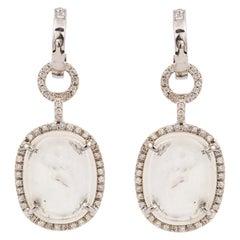 White Gold Diamond Huggie Earrings with Venetian Glass