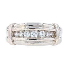 White Gold Diamond Men's Ring, 10k Round Brilliant .50ctw Wedding Band