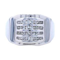 White Gold Diamond Men's Ring, 14k Round Brilliant Cut .64ctw