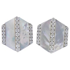 White Gold Diamond Mother of Pearl Cufflinks