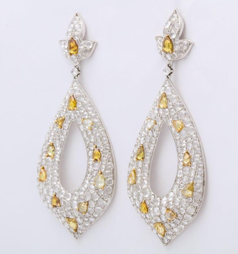 Romantic White Gold, Diamond, Natural Fancy Yellow Rose-Cut Diamond Ear Pendant Earrings For Sale