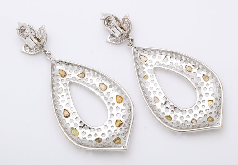 Women's White Gold, Diamond, Natural Fancy Yellow Rose-Cut Diamond Ear Pendant Earrings For Sale
