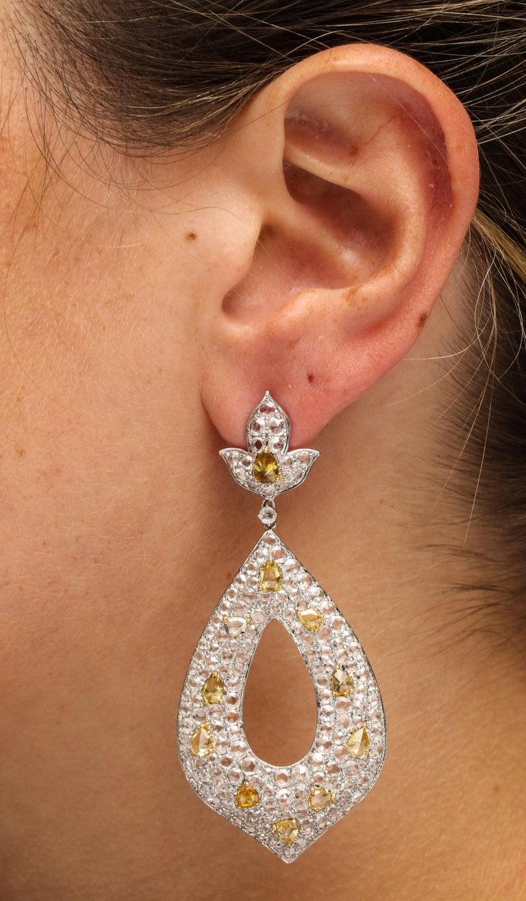 White Gold, Diamond, Natural Fancy Yellow Rose-Cut Diamond Ear Pendant Earrings For Sale 1