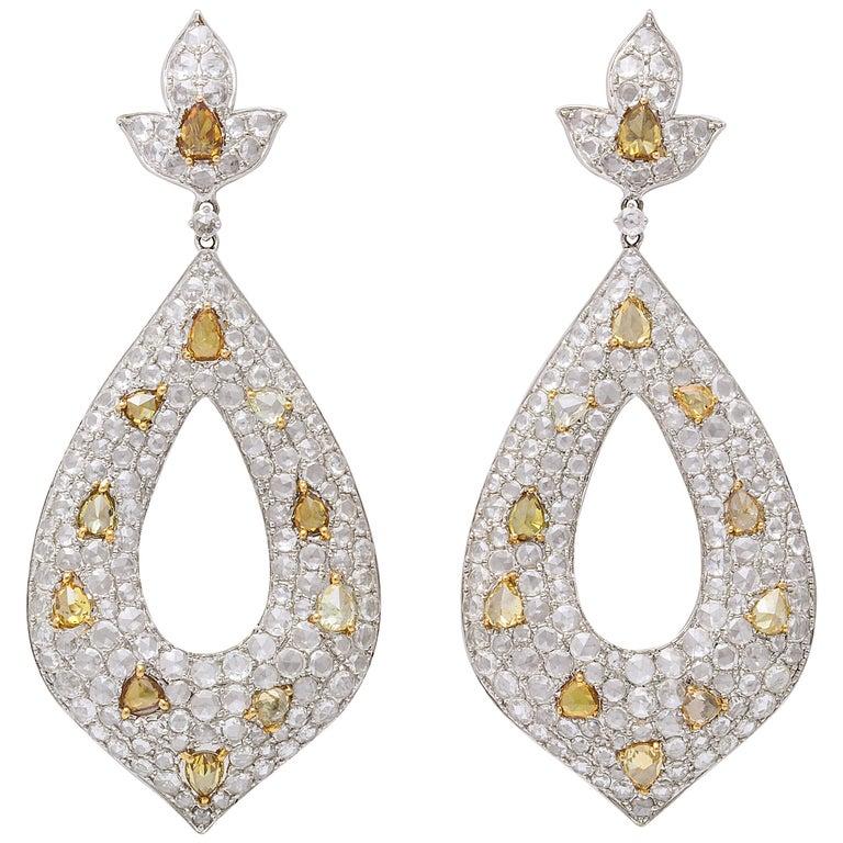 White Gold, Diamond, Natural Fancy Yellow Rose-Cut Diamond Ear Pendant Earrings For Sale