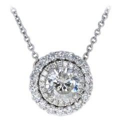White Gold Diamond Necklace, 14k Round Brilliant 1.15ct Double Halo Adjustable
