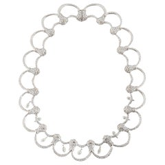 White Gold Diamond Necklace with Briolettes