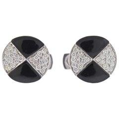 White Gold Diamond Onyx Cufflinks