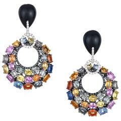 White Gold Diamond Onyx Sapphire Earrings