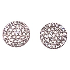 White Gold Diamond Pavé Disc Stud Earrings