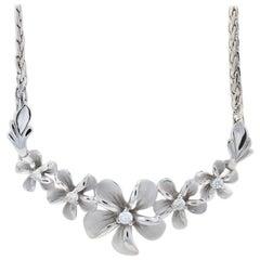White Gold Diamond Plumeria Necklace, 14 Karat Round Brilliant .24 Carat Flowers