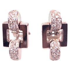 White Gold Diamond Post Clip Earrings
