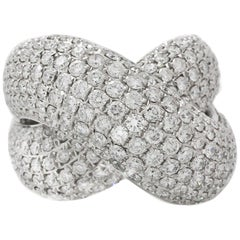 White Gold Diamond Puffy Criss Cross Ring