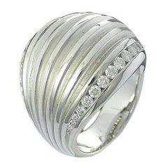 White Gold Diamond Ribbed Bombé Ring