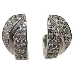 White Gold and Diamond Ribbon Earrings
