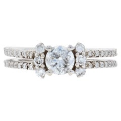White Gold Diamond Ring, 14 Karat Round Brilliant Cut .95 Carat Engagement
