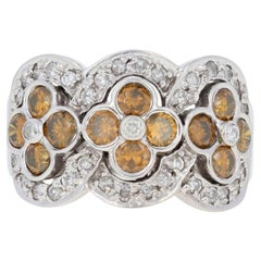 White Gold Diamond Ring, 14k Round Brilliant 1.50ctw Orange Flowers