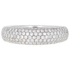 White Gold Diamond Ring, 14K Round Brilliant Cut 2/3 Carat Pave Cluster Band