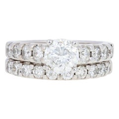 White Gold Diamond Ring and Wedding Band, 14 Karat Round Brilliant 2.35 Carat