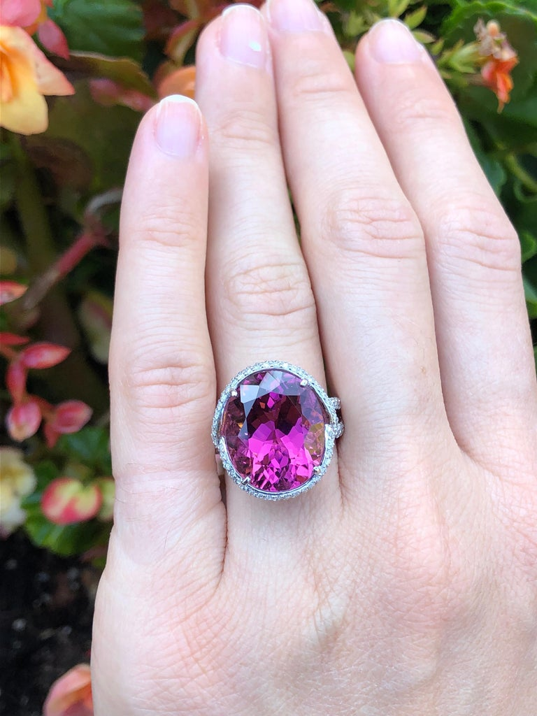 Rubellite Tourmaline Ring Oval 11.69 Carats For Sale 1