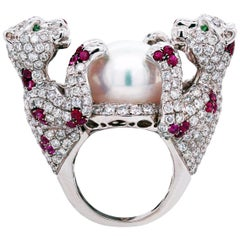 White Gold Diamond Ruby South Sea Pearl Large Ring with Two Panthers