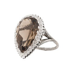 White Gold Diamond Smokey Quartz Ring