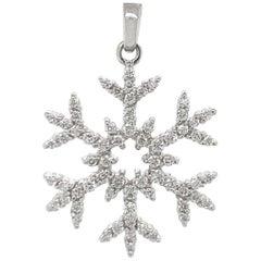 White Gold Diamond Snowflake Charm