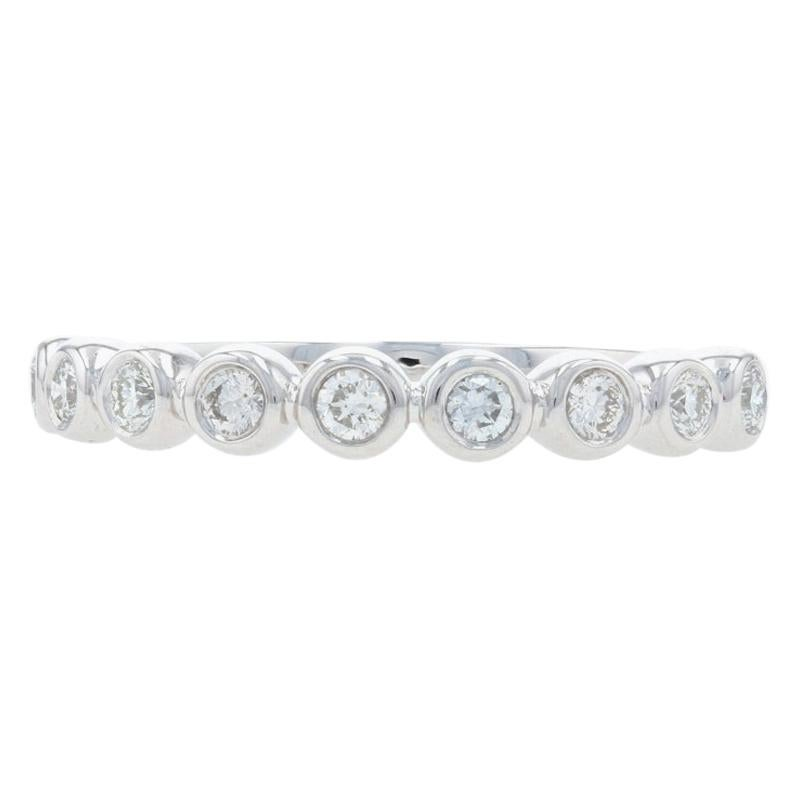 White Gold Diamond Stackable Band, 14k Round Brilliant Cut .25ctw Wedding Ring
