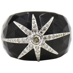 White Gold Diamond Star on Black Faceted Onyx Band Dome Cocktail Ring
