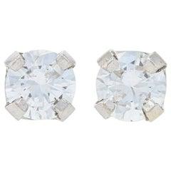White Gold Diamond Stud Earrings, 14 Karat Round Brilliant Cut .60 Carat Pierced