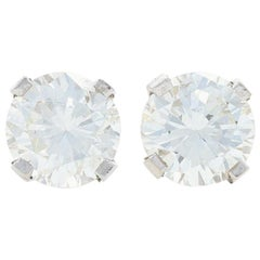 White Gold Diamond Stud Earrings, 14 Karat Round Brilliant Cut .62 Carat Pierced
