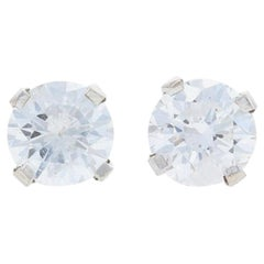 White Gold Diamond Stud Earrings, 14 Karat Round Brilliant Cut .64 Carat Pierced