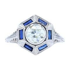 White Gold Diamond & Synthetic Sapphire Art Deco Halo Ring, 18k European 1.00ct