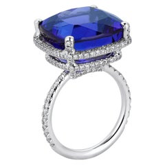 White Gold Diamond Tanzanite Cocktail Ring