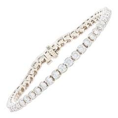 White Gold Diamond Tennis Bracelet, 14 Karat Round Brilliant Cut 6.22 Carat