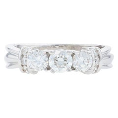 White Gold Diamond Three-Stone Ring, 18 Karat Round Brilliant Cut 1.00 Carat