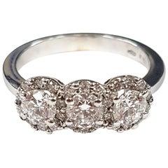 White Gold Diamond Triple-Cluster Ring