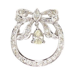 White Gold Diamond Vintage Bow Pendant or Brooch