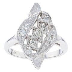 White Gold Diamond Vintage Ring, 14k Swiss Cuts .20ctw Crosshatch Milgrain
