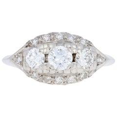 White Gold Diamond Vintage Three-Stone Ring, 14k Round Brilliant Cut .75 Carat