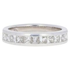 White Gold Diamond Wedding Band, 14 Karat Princess Cut 1.10 Carat Men's Ring