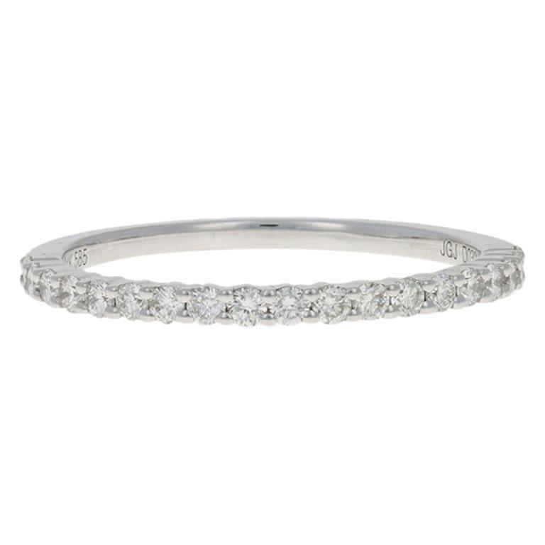 White Gold Diamond Wedding Band, 14 Karat Round Brilliant .30 Carat Women's Ring