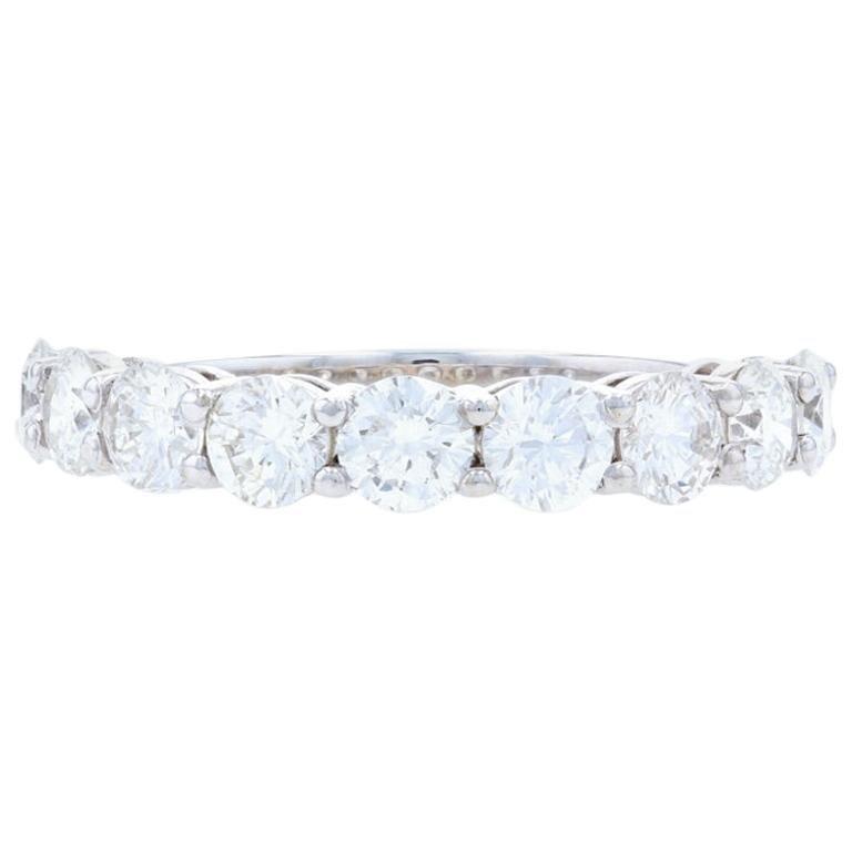White Gold Diamond Wedding Band, 14k Round Brilliant 1.81ctw Anniversary Ring