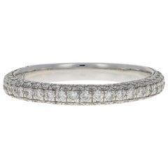 White Gold Diamond Wedding Band, 14k Round Brilliant Cut .75 Carat Women's Ring