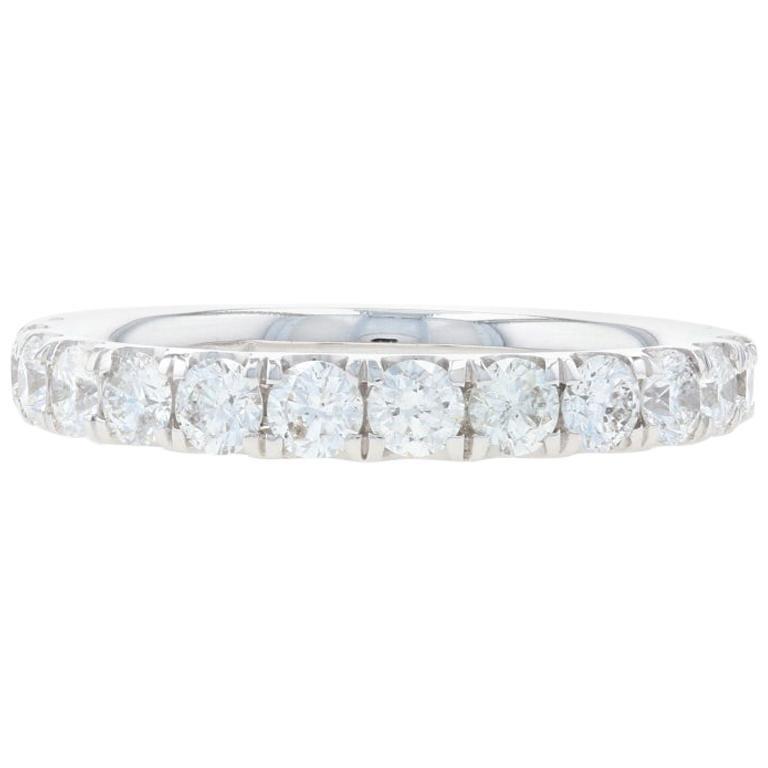 White Gold Diamond Wedding Band, 18k Round Brilliant Cut .94 Carat Women's Ring For Sale