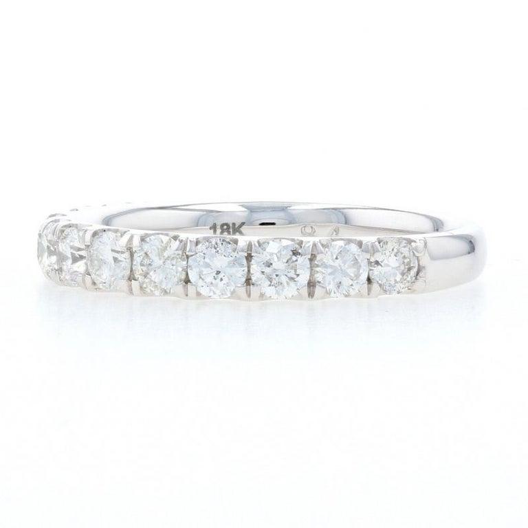 Round Cut White Gold Diamond Wedding Band, 18k Round Brilliant Cut .94 Carat Women's Ring For Sale
