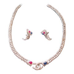 White Gold, Diamonds, Sapphire, Ruby Set of Earrings and Necklace
