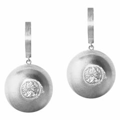 White Gold Dome Drop Earrings with White Sapphire