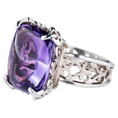 White Gold Double Cabochon Lozenge Amethyst Filigree Cocktail Ring Dianna Rae